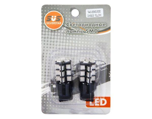 Комплект светодиодных ламп SVS W21W/7440 12V (30SMD5050) Белый, с обманкой 1