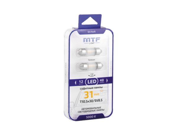 Светодиодная автолампа MTF Light софитная T10.5х31/31mm, 12В, 5000К белый свет, 0.5Вт, Тайвань, 2шт 1