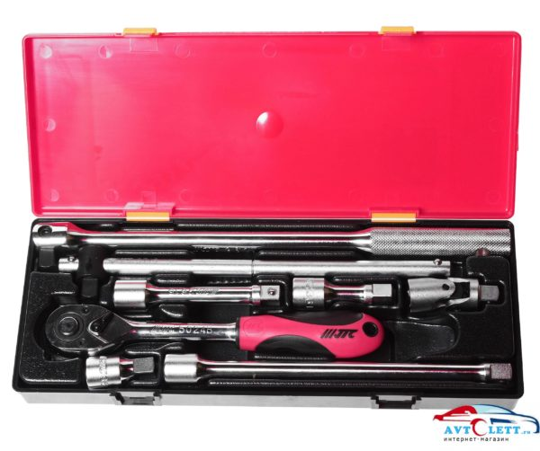 """Набор инструментов 1/2"""" (удлинители, воротки, трещотка-резин.рукоятка) в кейсе 8 предметов JTC /1 1"""