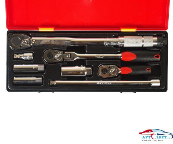 Набор головок торцевых для свечей зажигания (в кейсе-ключ,трещотки,удлинит.,головки) 8 предметов JTC /1 1