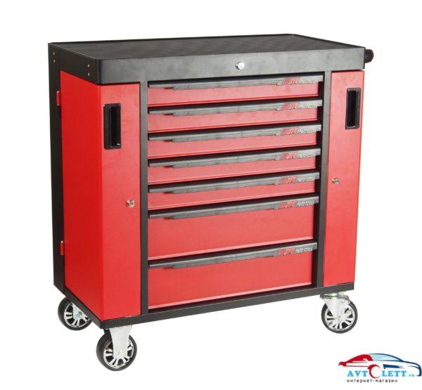 Тележка инструментальная 7 секций, красная на колесах с двумя боковыми ящиками JTC /1 1