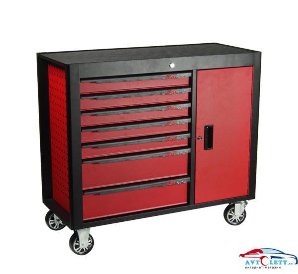 Тележка инструментальная 7 секций, красная на колесах с боковым ящиком JTC /1 1