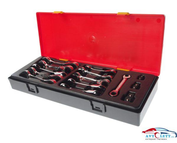 Набор ключей комбинированных укороченных трещоточных 8-19мм (в кейсе) 14 предметов JTC /1 1