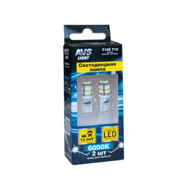 Лампа AVS T10 T100 /белый/ (W2.1x9.5D) 30SMD 3014 9-30V W5, коробка 2 шт. 1