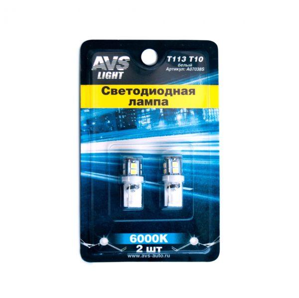 Лампа AVS T10 T113 /белый/ (W2.1x9.5D) 11SMD 2835 12V W5, блистер. 2 шт. 1