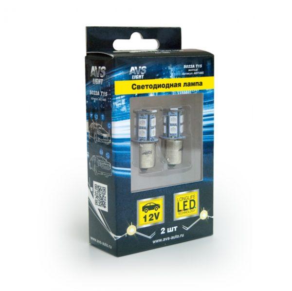 Лампа AVS T15 S022A /жёлтый/(BA15S) 13SMD 5050 12V 1 contact, коробка 2 шт. 1