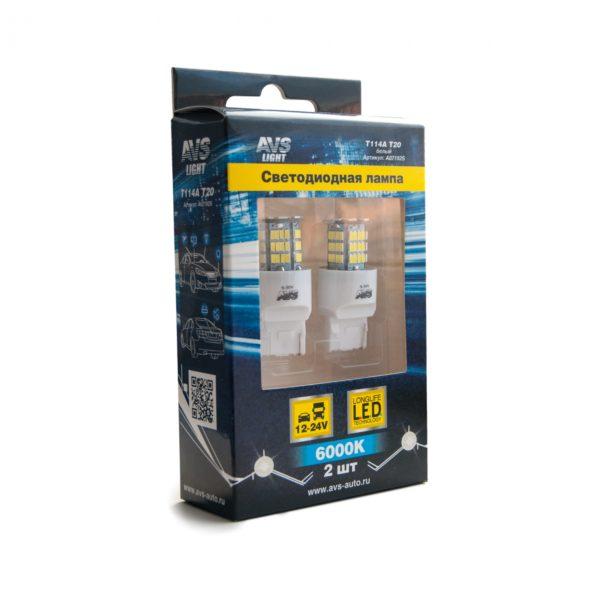 Лампа AVS T20 T114A /белый/(W3*16q) 78SMD 3014, 1 contact, коробка 2 шт. 1