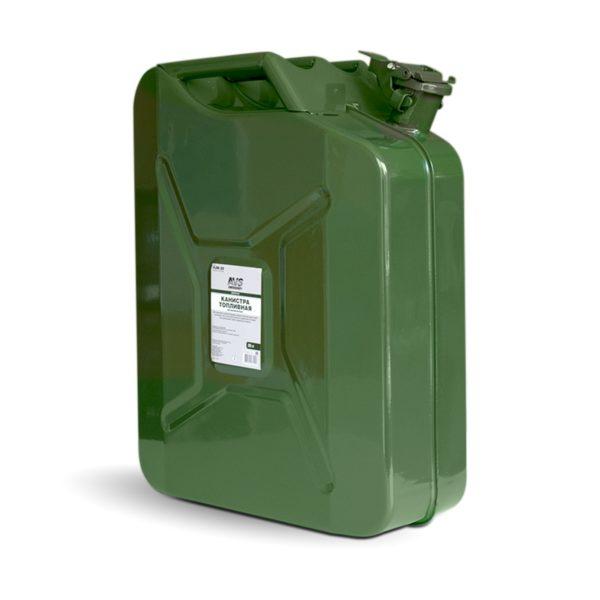 Канистра топливная металлическая вертикальная 20 л (зелёная) AVS VJM-20 1