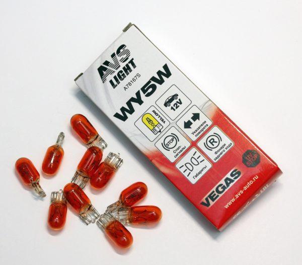 "Лампа AVS Vegas 12V. WY5W ""yellow"" (W2,1x9,5d) BOX (10 шт.) 1"