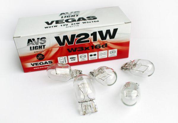Лампа AVS Vegas 12V. W21W (W3x16d) BOX (10 шт.) 1