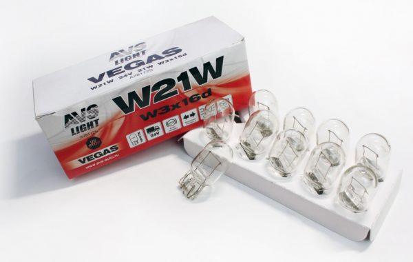 Лампа AVS Vegas 24V. W21W (W3x16d) BOX (10 шт.) 1