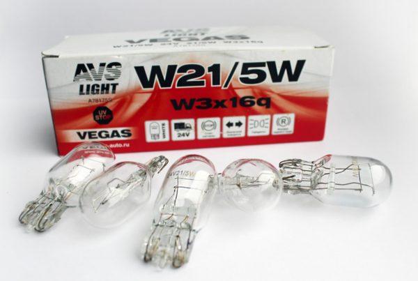 Лампа AVS Vegas 24V. W21/5W (W3x16q) BOX (10 шт.) 1