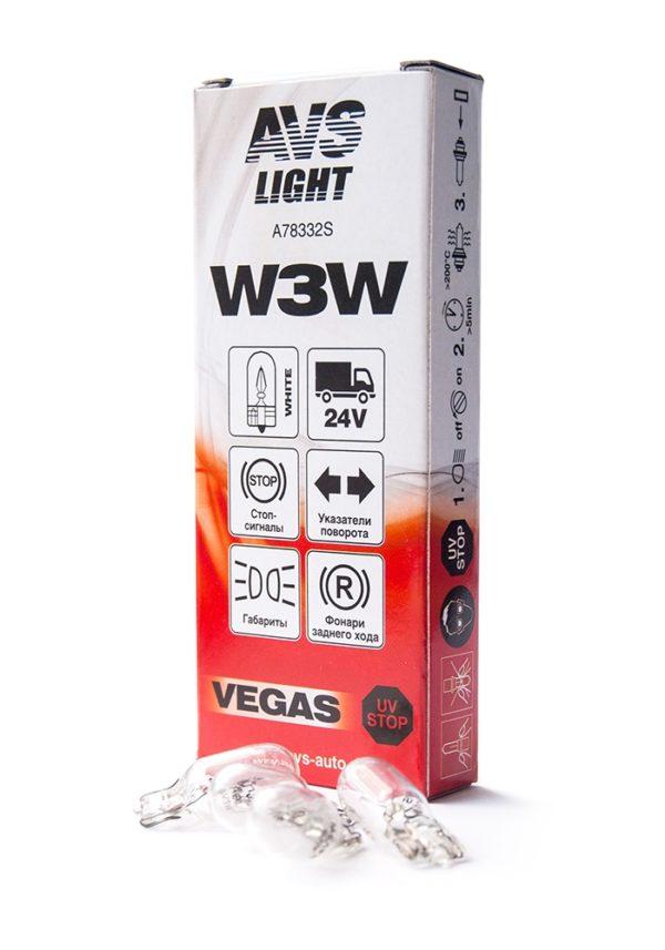 Лампа AVS Vegas 24V. W3W (W2,1x9,5d) BOX (10 шт.) 1