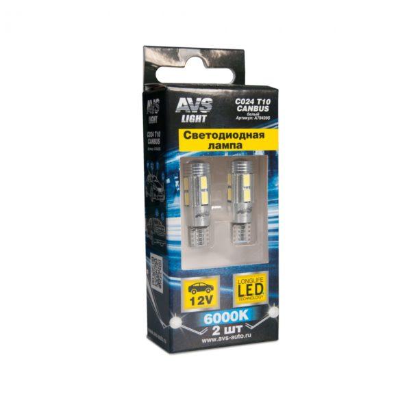 Лампа AVS T10 C024 /белый/ (W2.1x9.5D) CANBUS 8SMD 5630, блистер, 2 шт. 1