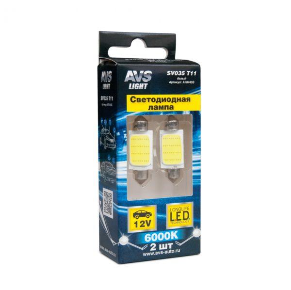 Лампа AVS T11 SV035 /белый/ (SV8,5/8)COB 12chip 39 мм, блистер, 2 шт. 1