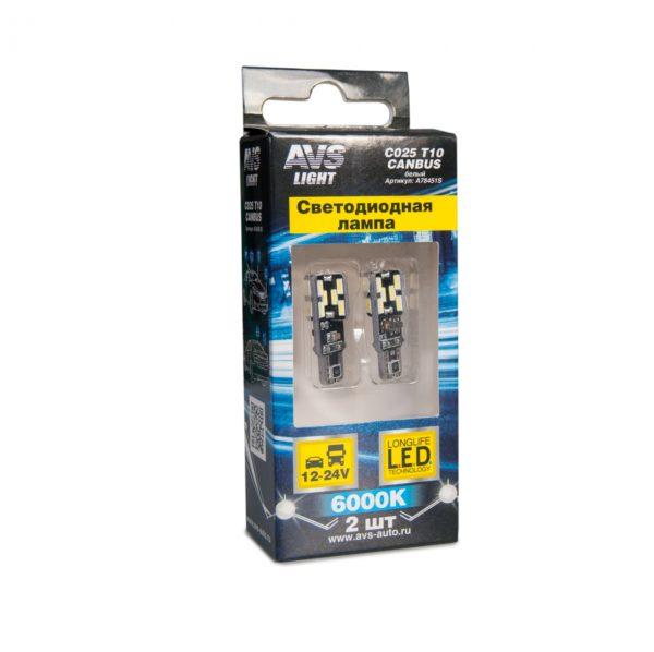 Лампа AVS T10 C025 /белый/ (W2.1x9.5D) CANBUS 24SMD 4014 12-24V, блистер, 2 шт. 1