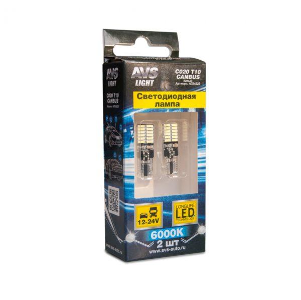 Лампа AVS T10 C020 /белый/ (W2.1x9.5D) CANBUS 24SMD 4014 12-24V, блистер, 2 шт. 1