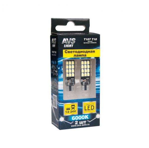 Лампа AVS T10 T107 /белый/ (W2.1x9.5D) 24SMD 2835 12-24V, блистер, 2 шт. 1