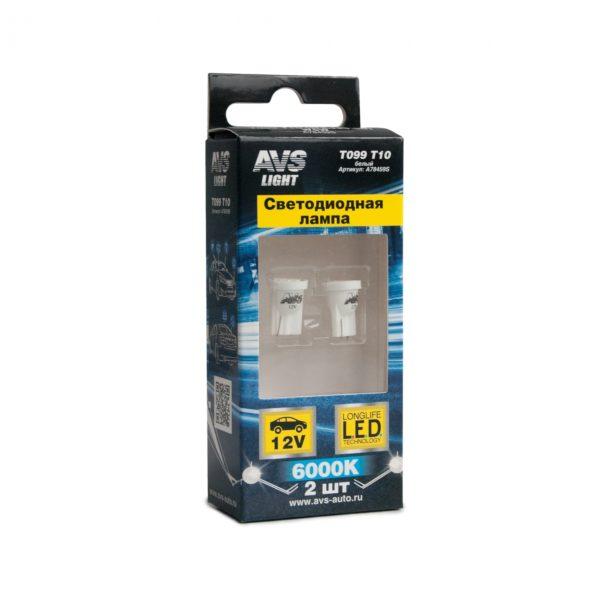 Лампа AVS T10 T099 /белый/ (W2.1x9.5D) 8SMD 3014, блистер, 2 шт. 1