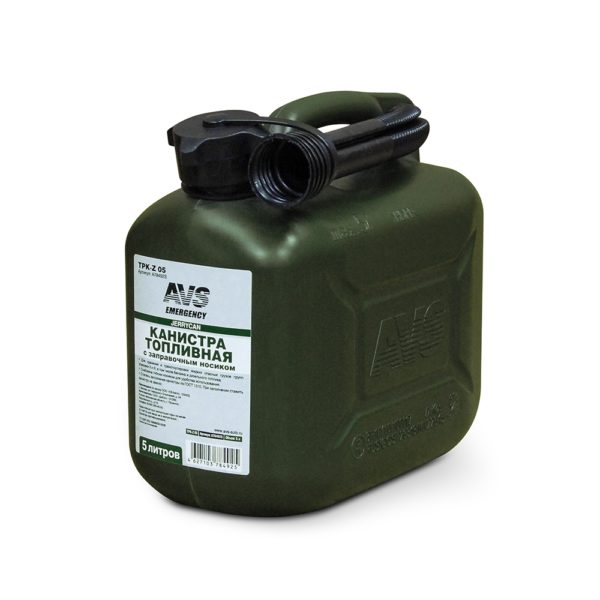Канистра для топлива (пластик) 5л (тёмно-зелёная) AVS TPK-Z 05 1