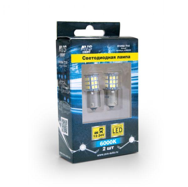 Лампа AVS T15 S105A /белый/ (BA15S) 39SMD 2835 10-30V 1 contact блистер, 2 шт 1