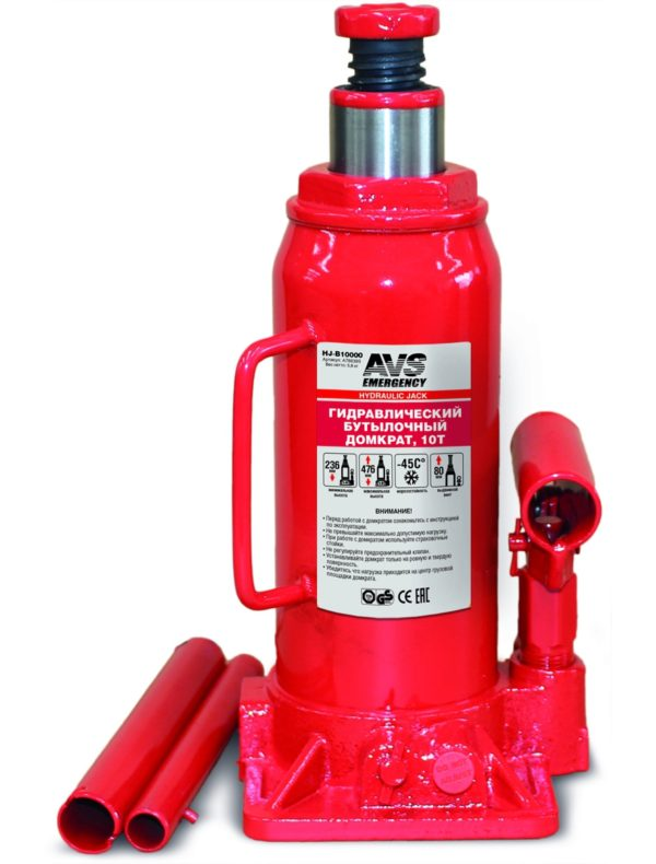 Домкрат гидравлический AVS HJ-B10000, 10т, 236-476мм. 1
